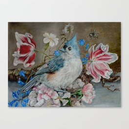 Blue Titmouse and Bee with floral still life Canvas Print