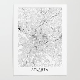 Atlanta White Map Poster