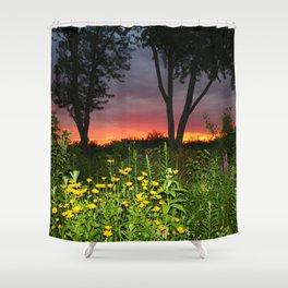 Sunset Over a Wildflower Field Shower Curtain