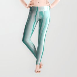 Mint watercolor stripes pattern Leggings