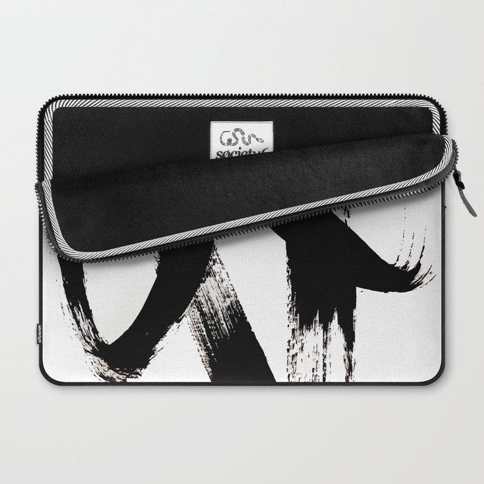 Brushstroke 2 - simple black and white Laptop Sleeve