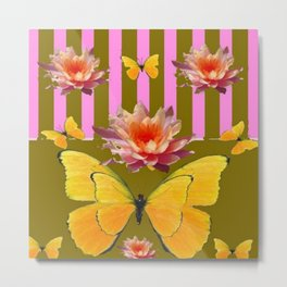 PINK WATER LILIES STRIPED BUTTERFLY PATTERNED ART Metal Print