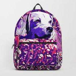 beagle dog flower field vector art purple Backpack