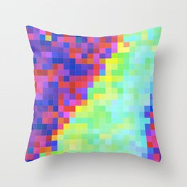 Bright pixel glitch Throw Pillow