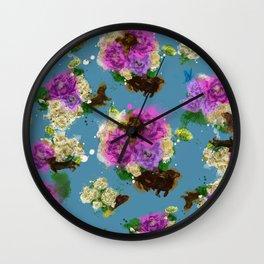 Floral Dachshund Wall Clock