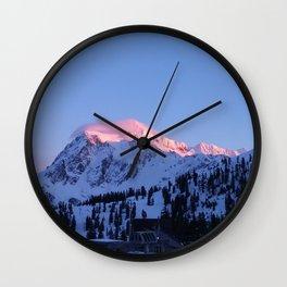 Pink Mountain Wall Clock