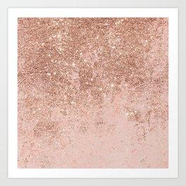 Girly blush coral faux rose gold glitter marble Kunstdrucke