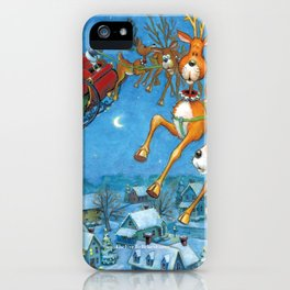 Santa circling over the little town of Bishop Hollow iPhone Case