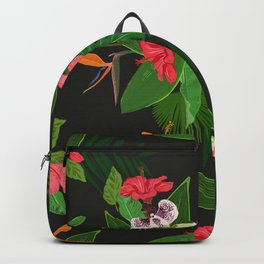 Red, orange, pink hibiscus and heaven bird flowers and tropical leaves pattern black background Backpack