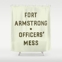 louis armstrong Shower Curtains featuring Fort Armstrong by The Provincial Trading Co.