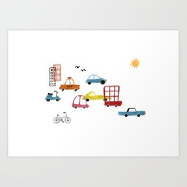 Watercolor Busy City Roads Cars Trucks Pattern Art Print