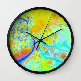Emerging Galaxies – Abstract Teal & Lime Currents Wall Clock