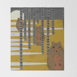 Bears hiding in the woods Throw Blanket