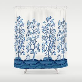 Blue Chinoiserie Citrus Grove Mural Shower Curtain