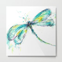 Watercolor Dragonfly Metal Print