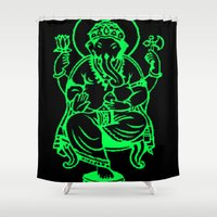 hindu Shower Curtains featuring Hindu god by Littlefox