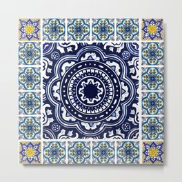 Talavera Mexican tile inspired bold design in blue and white Metal Print