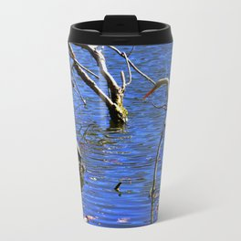 Egret and Turtle: Opposites Attract (Chicago North Pond Collection) Travel Mug