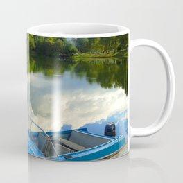 Motor boat on the lake Coffee Mug