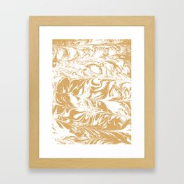 Suminagashi japanese spilled ink watercolor swirl marble pattern ocean gold and white minimalist art Framed Art Print