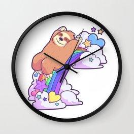 Rainbow Baby children's slide sloth Wall Clock