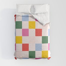 Retro Bauhaus Pattern | Abstract Shapes | Geometric Checks Comforters