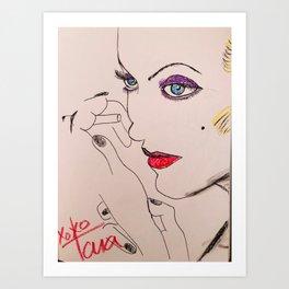 Carole with cigarette Art Print