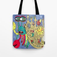 downton abbey Tote Bags featuring Downton Crabbey by Amy Gale