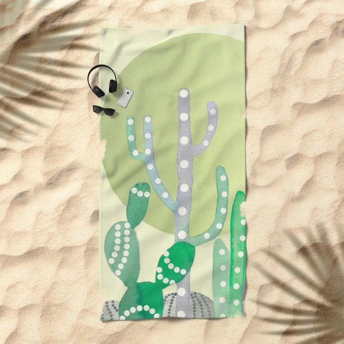 BOHO CACTUS IN MINT Beach Towel