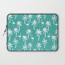 Tropical flamingo and palm trees pattern by andrea lauren cute illustration summer patterns turq Laptop Sleeve