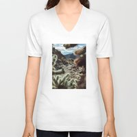 frame V-neck T-shirts featuring Cholla Frame by Kevin Russ