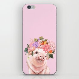 Baby Pig with Flowers Crown iPhone Skin