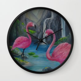 flamingo lake Wall Clock