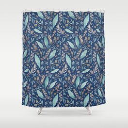 Colorful botanical watercolor foliage - Classic Blue Shower Curtain