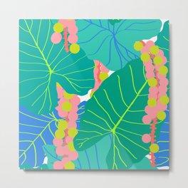 Elephant Ear Leaves + Sea Grapes Metal Print