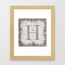 Neutral Monogram H Framed Art Print