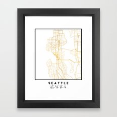 SEATTLE WASHINGTON CITY STREET MAP ART Framed Art Print
