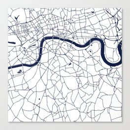 London White on Navy Street Map Canvas Print