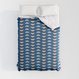 Minimalist Geometric Semi Circle Half Moon Shapes in Classic Blues and Muted Oranges Comforters