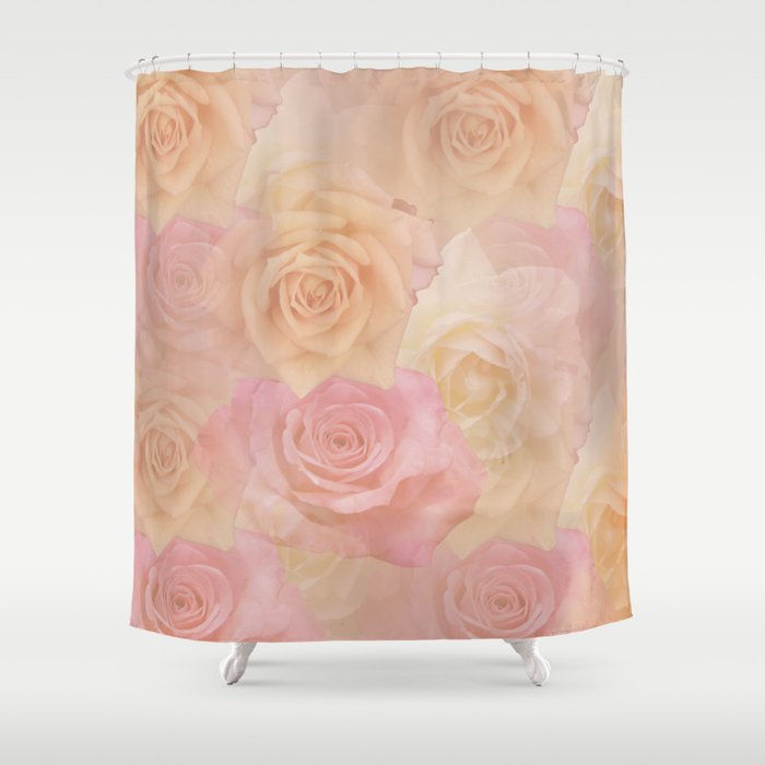 Pastel painterly roses Shower Curtain by walstraasart | Society6