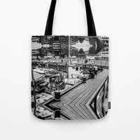 oslo Tote Bags featuring Oslo Wharf by Vengeance, Madame.