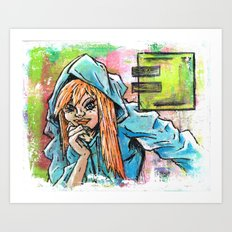 Another Girl in a Hoodie Art Print