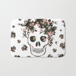 Flower Skull, Floral Skull, Pink Flowers on Human Skull Bath Mat