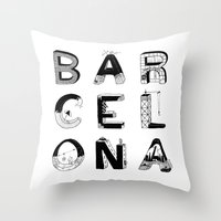 barcelona Throw Pillows featuring Barcelona by Anita Dinamita
