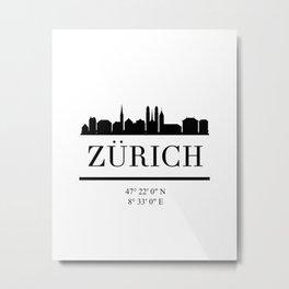 ZURICH SWITZERLAND BLACK SILHOUETTE SKYLINE ART Metal Print