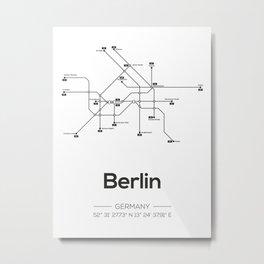 Berlin Subway Map Metal Print