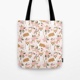 Corgi Floral Print - blush, coral, floral, spring, girls feminine corgi dog Tote Bag