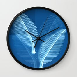 Blueprint Leaves Wall Clock