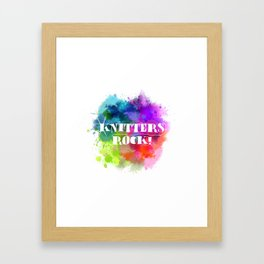Knitters Rock! Framed Art Print