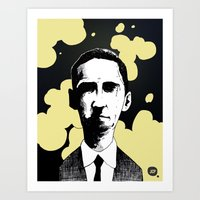 lovecraft Art Prints featuring H.P. Lovecraft by James Courtney-Prior